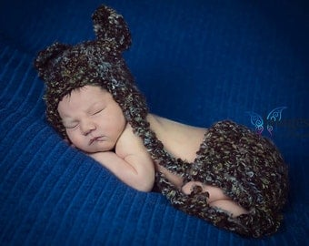 Bear hat and diaper cover photo prop. POPULAR Furry bear hat. Brown bear hat photo prop with diaper cover. Newborn baby photo prop bear hat.