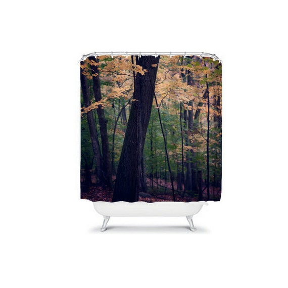 Gradient forest shower curtain rustic by wanderlustography - Forest green shower curtain ...