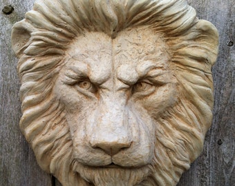 Lion Head Wallhanging, for home or garden. Cast cement ready to hang indoors or out.