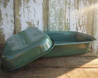 Green Enamel Roaster - Vintage Kitchen