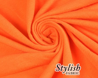 Orange Cotton Lycra Jersey Knit Fabric Combed 7oz by the Yard Cotton Stretch Jersey Cotton Jersey Stretch by the yard - 1 Yard Style 477