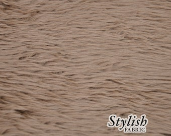 Light Coco Pile Luxury Shag Faux Fur Fabric by the yard for costume, throws, home furnishing, photo props - 1 Yard Style 5009