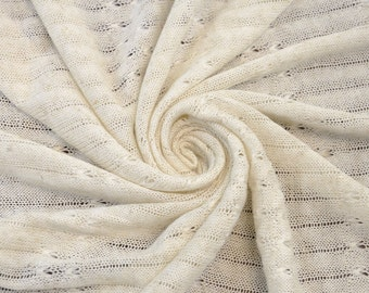 Ivory Stripes with Butterflies Sweater Knit Fabric-1 Yard Style 6113