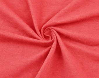 Deep Coral Cotton Lycra Jersey Knit Fabric Combed 10oz Cotton Stretch Cotton Spandex Fabric by the Yard - 1 Yard Style 451
