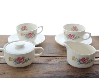 Vintage Floral Porcelain Tea and Coffee Set
