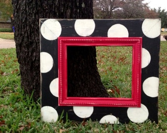 8x10 distressed frame black & white polka dots with red dot trim