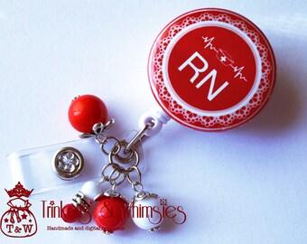 RN Nurse Vermillion Red Retractable Badge Holder