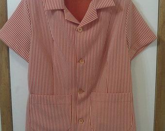 Too sweet 1960's vintage women's blouse, orange & white