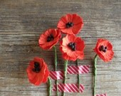 Paper Poppies - Red miniature flowers - Made of mulberry paper with wire stems - Set of 10 [101]