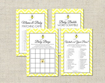 Bumble Bee Baby Shower GAME PACKAGE, Printable Baby Shower Games, (4) Games