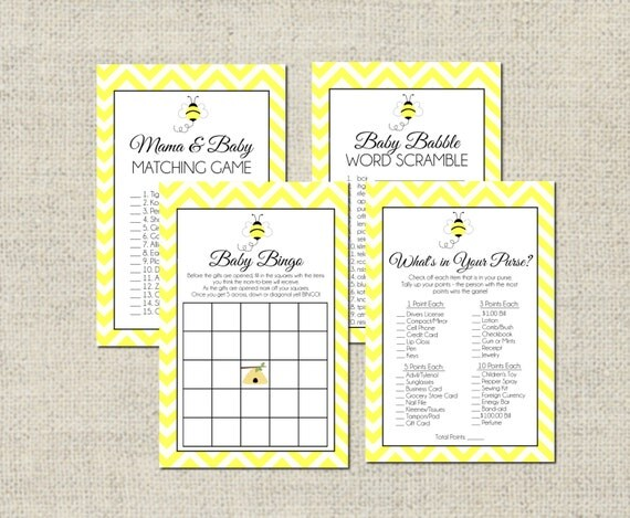 Items Similar To Bumble Bee Baby Shower GAME PACKAGE Printable Games 4 On Etsy