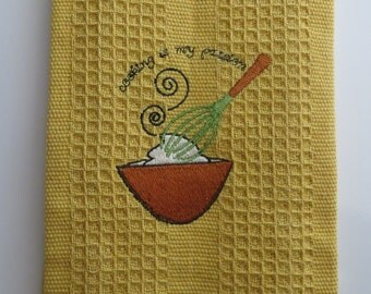 Cotton Waffle Weave Kitchen Towel..Embroidered..Cooking is my Passion..Gift