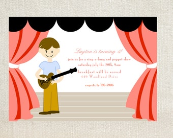 Puppet guitar playing birthday party invitations