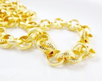 12mm Super Large Etched Chunky Rolo Chain  - 22k Matte Gold Plated - 1 Meter  or 3.3 Feet