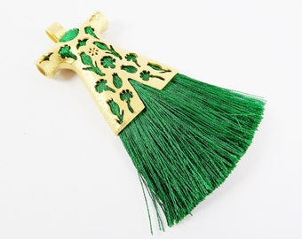 Emerald Green Silk Thread Turkish Caftan Tassel Pendant - 22k Matte Gold Plated - 1PC