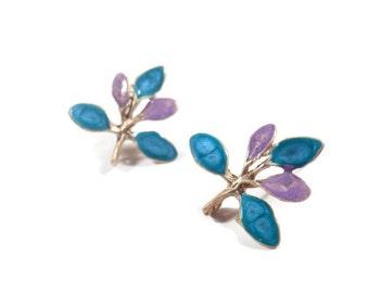 Purple twig earrings for women lilac branch studs blue gold earrings nature inspired statement enamel jewelry