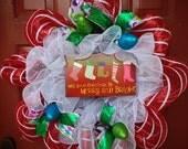 CLEARANCE Deco Mesh Wreath - Christmas Wreath - Holiday Wreath - Whimsical Wreath - Handmade Wreath - Welcome Home Wreath