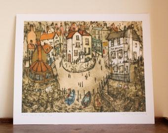 ROBIN HOODS BAY, North Yorkshire Coast England Art, Coastal Fishing Boat Village House, Drypoint Signed Giclee Print Clare Caulfield Whitby