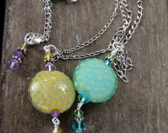 Polka Dotty Pendant Necklaces; handmade lampwork pendants; polka dot necklaces; yellow necklace; aqua necklace; summer necklace; SRAJD