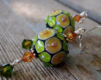 Sterling Silver Beautiful Bumpy Earrings with Handmade Lampwork Beads and Swarovski Crystal