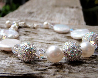 Elegant Freshwater Coin Pearl, Swarovski crystal and crystal AB Beadelle Pavé bead Bracelet