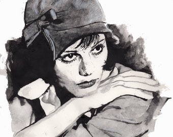 Claudia Cardinale Print on High Quality paper, original watercolour by Tuulia Tamminen - Size A3