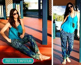 PATTERN Ladies Harem Pants - Jogger- Lounge Pants - PDF Sewing Pattern