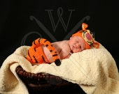 Boys or Girls Tigger Inspired Crochet Boys or Girls Beanie Hat and Diaper Cover Set. Photo prop set. Tiger set. Tiger Hat.