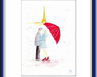 ORIGINAL Abstract  Painting  Watercolor  Contemporary  Art   Modern Paris  Eiffel Tower Red Umbrella Cityscape Rain City Love by Tanja Bell