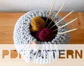 PDF pattern for a knitted storage basket, garter stitch with short rows, yarn bowl, DIY round organizer
