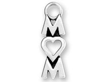 Mom Charm Sterling silver Heart Love for O Mothers Day Charm -SP913