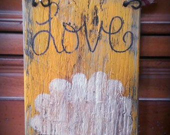 Primitive Sheep painted on a pallet board. Rustic. Love.