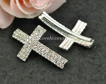 5pcs 23x38mm Silver Plated White Rhinestone Sideways Cross Charms Connectors - Cross Charms with Curved Tubes