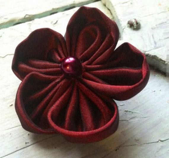 Burgundy Fabric Flower Hair Clip Cranberry Flower Hair