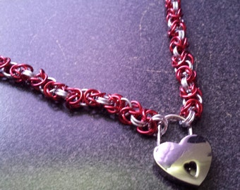Red and silver petite byzantine necklace