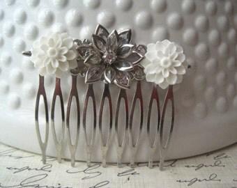 White Rhinestone Hair Comb, White Wedding Hair Comb, Romantic Wedding Hair Accessory, Bridesmaid Gift, Floral Hair Piece