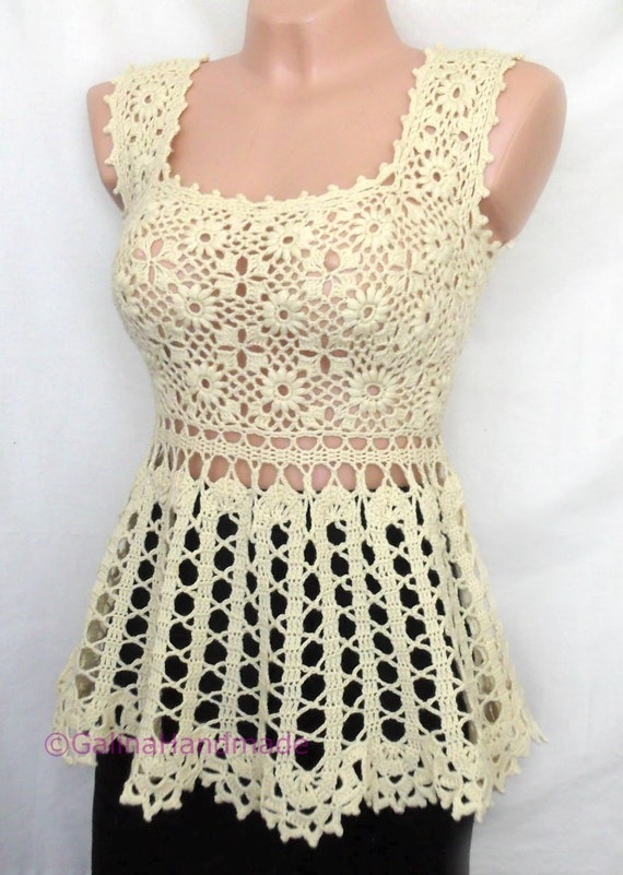 Crochet Summer Top Tunic Swimwear Cover Up Irish Lace Bruges