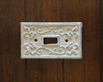 Ivory Light Switch Cover / Light Plate Cover / Cast Iron / Wall Decor / Fleur de lis Pattern