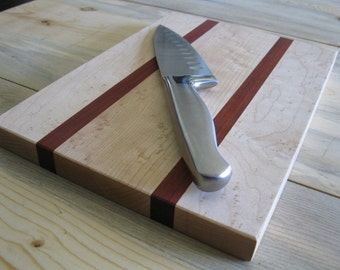 "Bloodwood and Birdseye Maple Cutting Board 7""x12"""