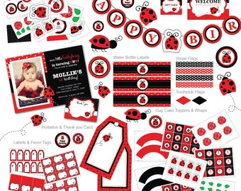 Ladybug Invitation, Ladybug invite, Ladybug Birthday, Ladybug Party, Ladybug Photo Invitation, Ladybug, Lady Bug, Cupcake Toppers (L1)