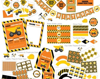 Instant download, Under Construction Birthday Party, Construction Invitation, Tools Invitation, Dump Truck, Boys Party, Party Package