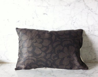 """12""""x18""""  Dark Floral Throw Pillow Cover (Charcoal / Black)"""