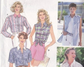 Simplicity 9014 Vintage Pattrn Womens Shirts in 5 Variations Size 6