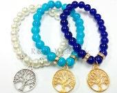 Tree of Life Beaded Bracelet, Charm Bracelet,Stretch Bracelets, Handmade,Custom,Beaded Jewelry