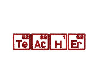 Teacher Machine Embroidery Design, Periodic Table of Elements embroidery design, science embroidery, 4x4 hoop, Teacher embroidery gift