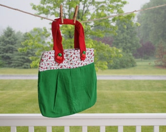 Life Is Just A Bowl of Cherries Soft Green Cotton Purse