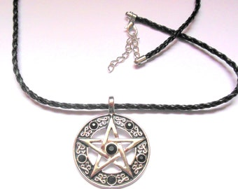 Pentagram, Neopagan, Wiccan necklace. Black  PVC cord necklace with silver colour pentagram pendant