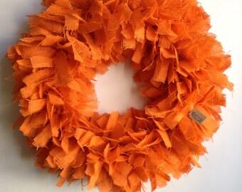 """Burlap Fall Wreath, 24"""", Orange Wreath, Halloween Wreath, Fall Wreath, Burlap Wreath, Autumn Wreath, Orange Burlap Wreath, Halloween Wreath"""