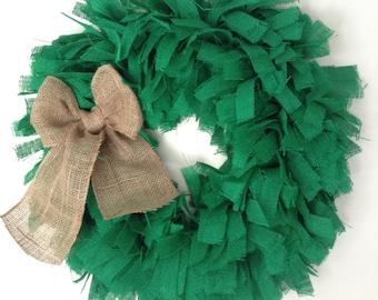 "26"", St Patricks Day Wreath, Christmas Wreath, Green Wreath, Holiday Wreath,, EXTRA LARGE  26"", Green Burlap Wreath, Green wreath,"