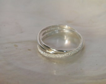 Hand Made .925 Sterling Silver Interlocking Triple Band Rolling Ring Trinity Russian Wedding -Custom size